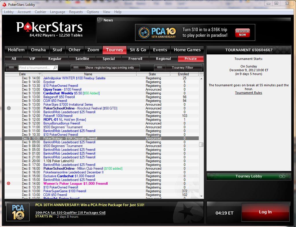play the $10,000 depositors freeroll at pokerstars on december 9