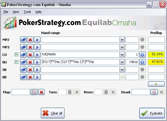 PokerStrategy.com Equilab Omaha main window