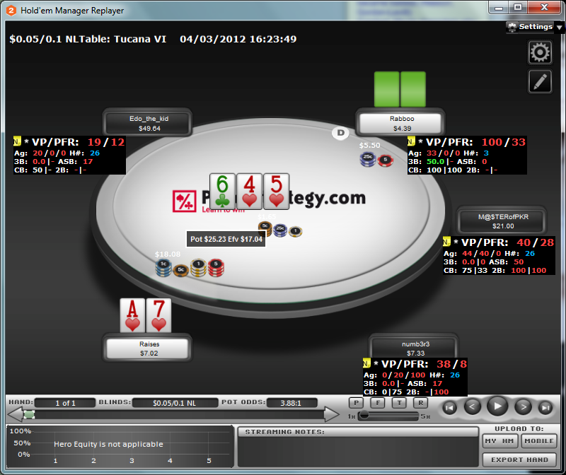 Hold'em Manager 2 HUD hand analysis