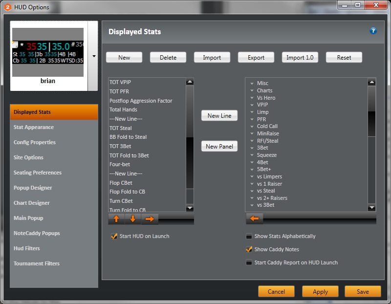Holdem Manager 2 HUD menu