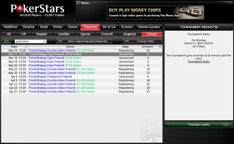 Pokerstars Weekly Freeroll