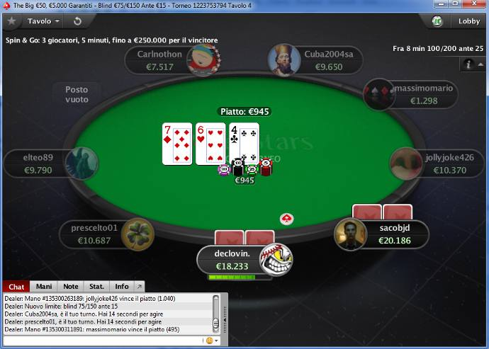 Cliente de software de PokerStars.it