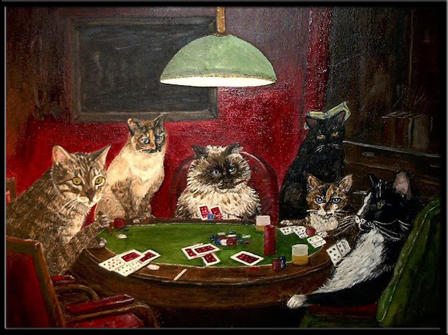 Painting of cats playing poker epiphone casino p90 pickups