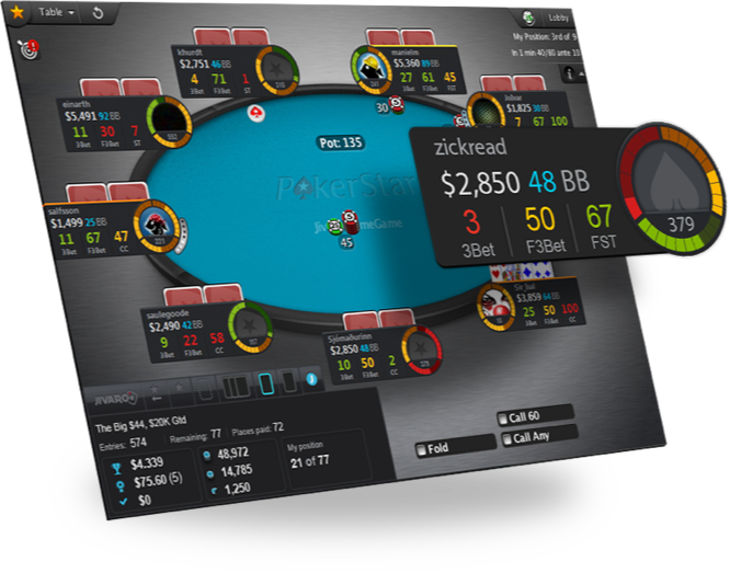 Jivaro is a beautiful HUD for PokerStars