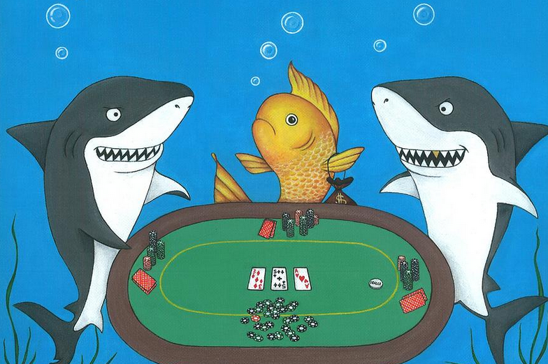 fish and sharks playing poker