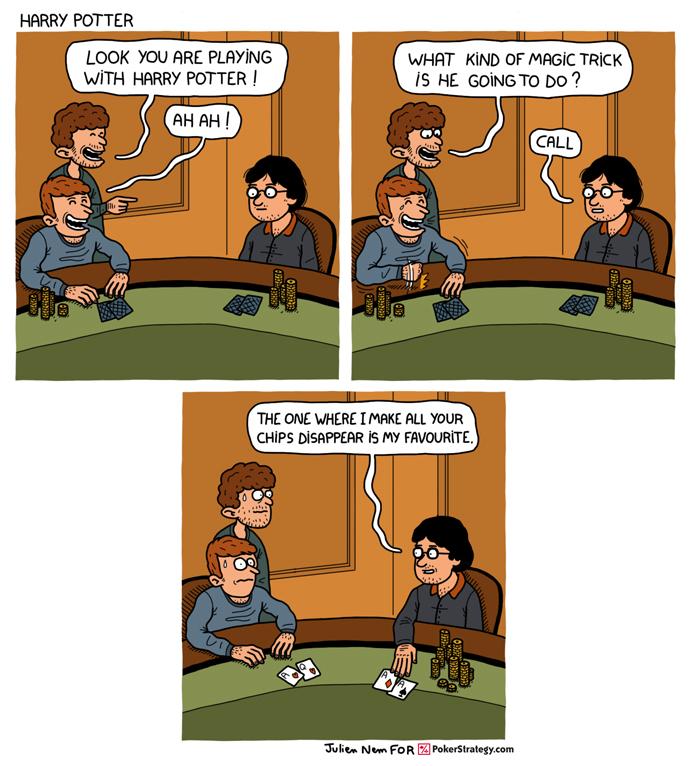 Lustige Pokercartoons Magic trick
