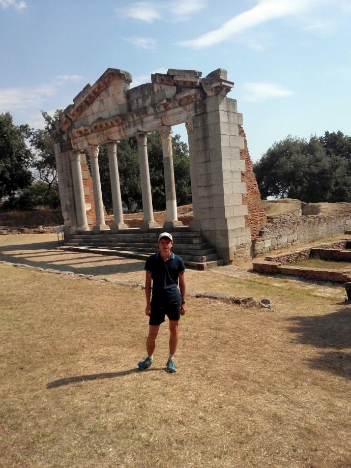 Grossmaister near the amphitheatre ruins in Albania