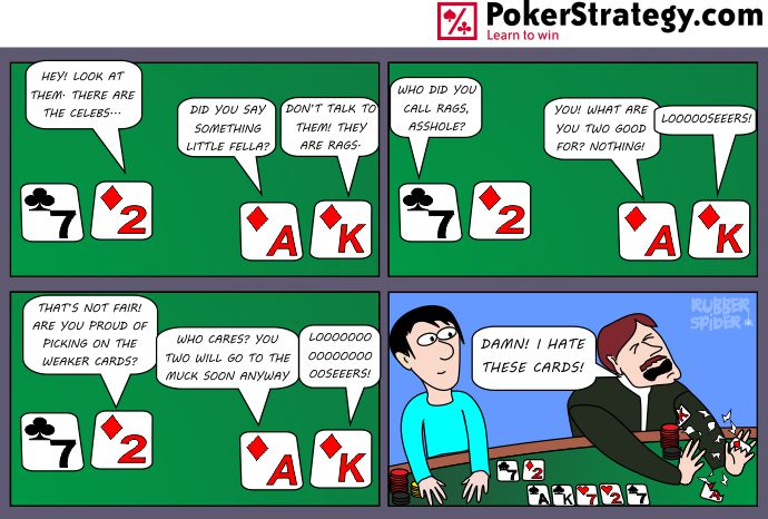 Lustige Pokercartoons Badbeat