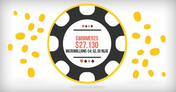 swimmer25 выиграл $27.130 в MicroMillions-54!
