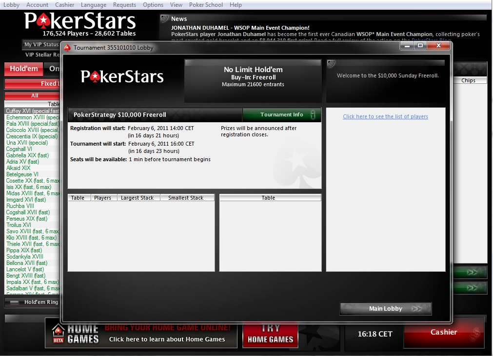 Freeroll Pokerstars